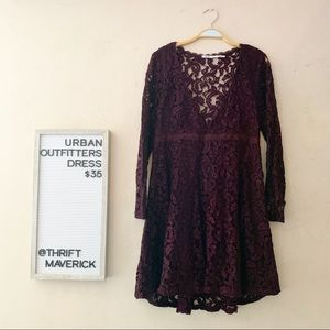 Long Sleeve Lace Burgundy Dress | Urban Outfitters